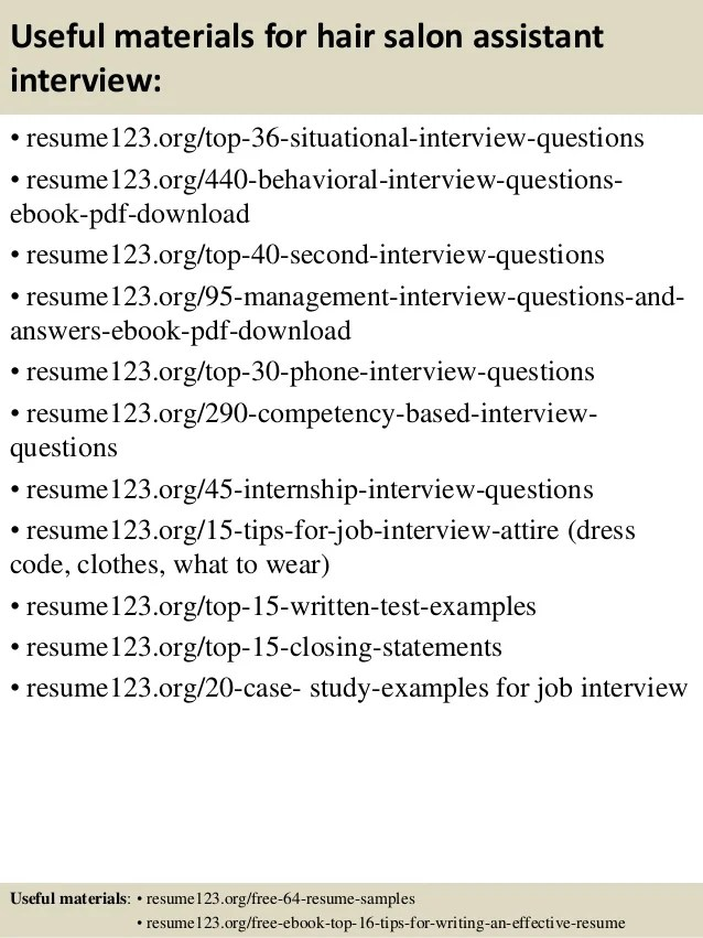 salon assistant resume examples