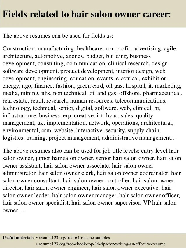 Top 8 Hair Salon Owner Resume Samples