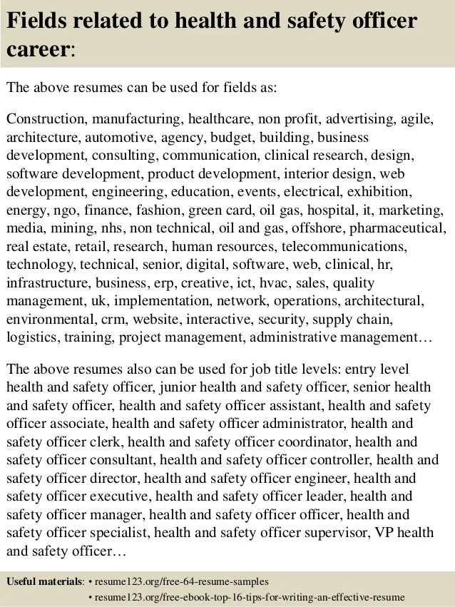 zoologist top health and safety officer