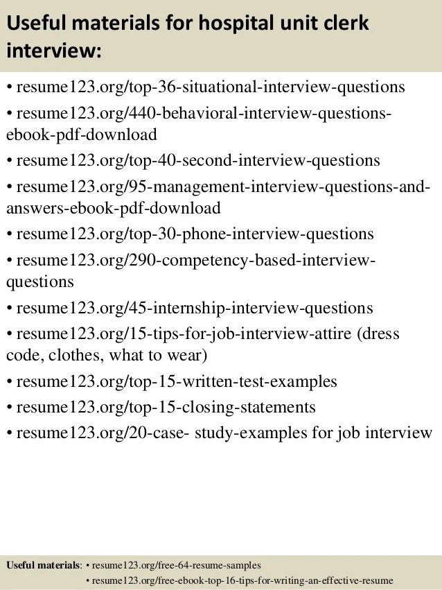 Unit Clerk Resume Samples   Reentrycorps Mock Resume