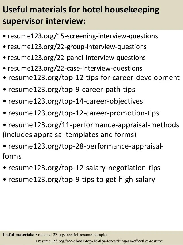 top 8 hotel housekeeping supervisor resume samples