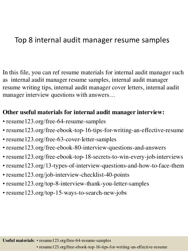 internal audit manager resumes template