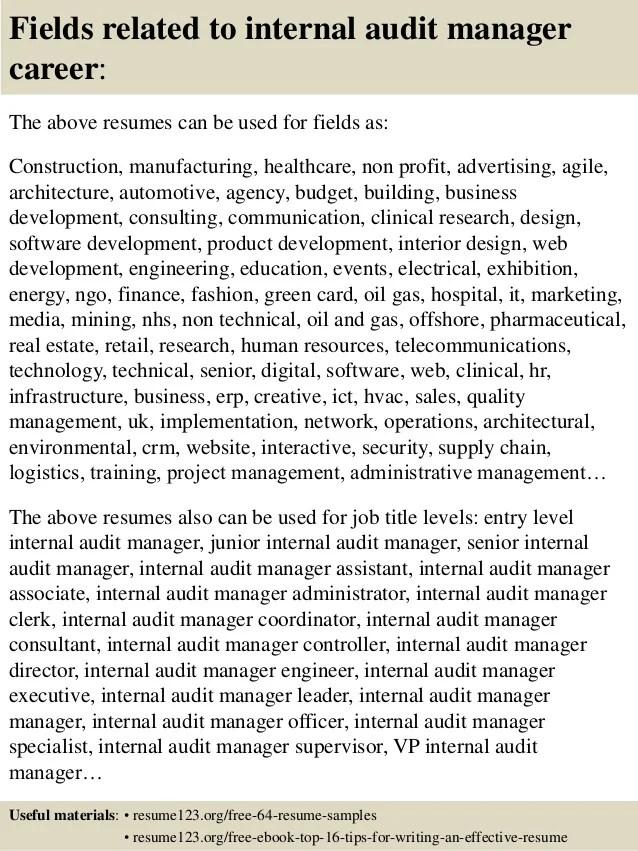 Sample Resume For Internal Bank Auditor