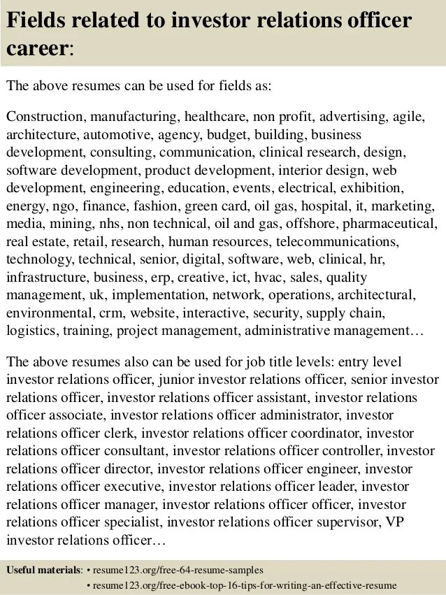 top 8 investor relations officer resume samples