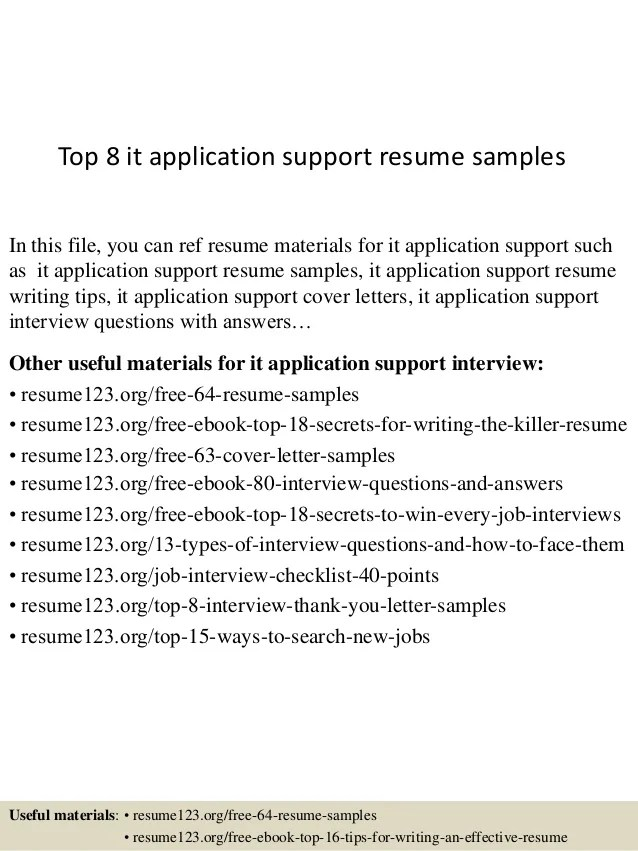 resume for application support engineer