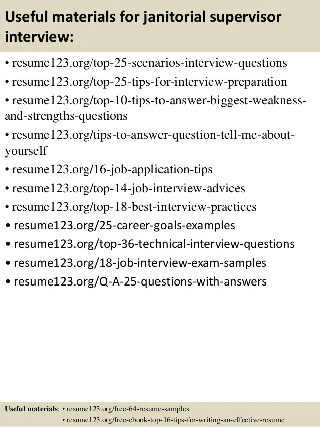 Top 8 Janitorial Supervisor Resume Samples