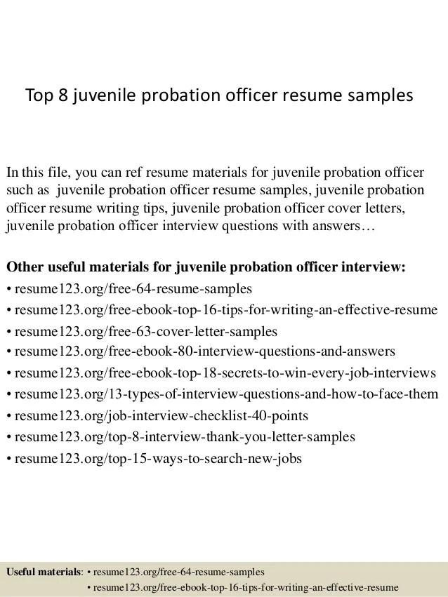 Probation Officer Resume Cover Letter Samples