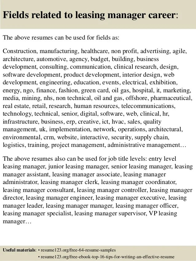 Assistant Leasing Manager Resume Sales Manager Resume Sample Resume