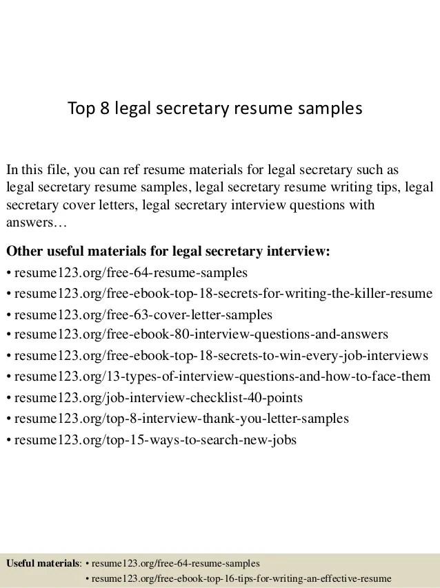 top 8 legal secretary resume samples