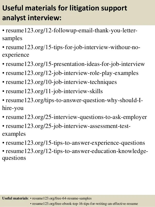 top 8 litigation support analyst resume samples