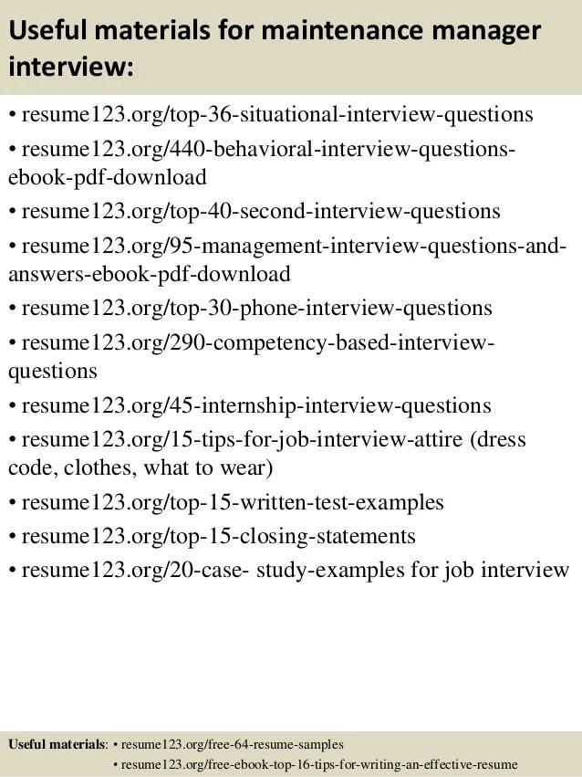 maintenance manager job description sample job resume sample