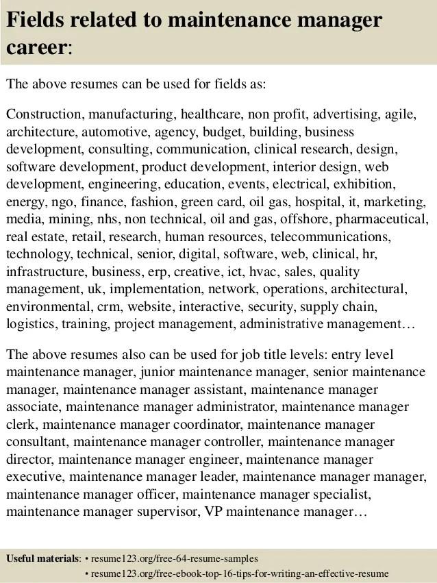 resume 1 free resume templates maintenance manager resume effective