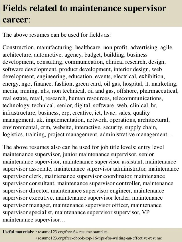 top 8 maintenance supervisor resume samples