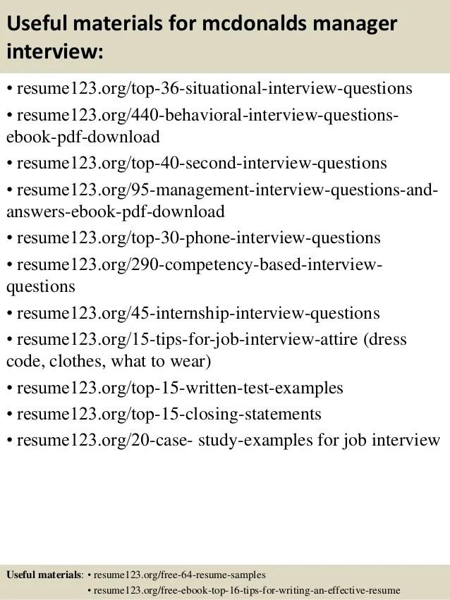 top 8 mcdonalds manager resume samples
