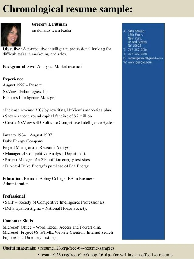 top 8 mcdonalds team leader resume samples