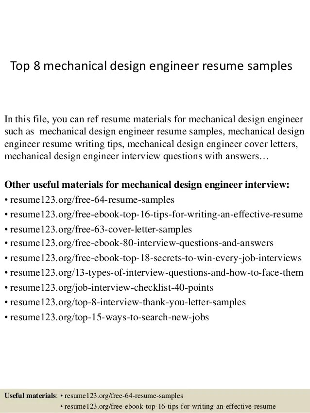 top 8 mechanical design engineer resume samples