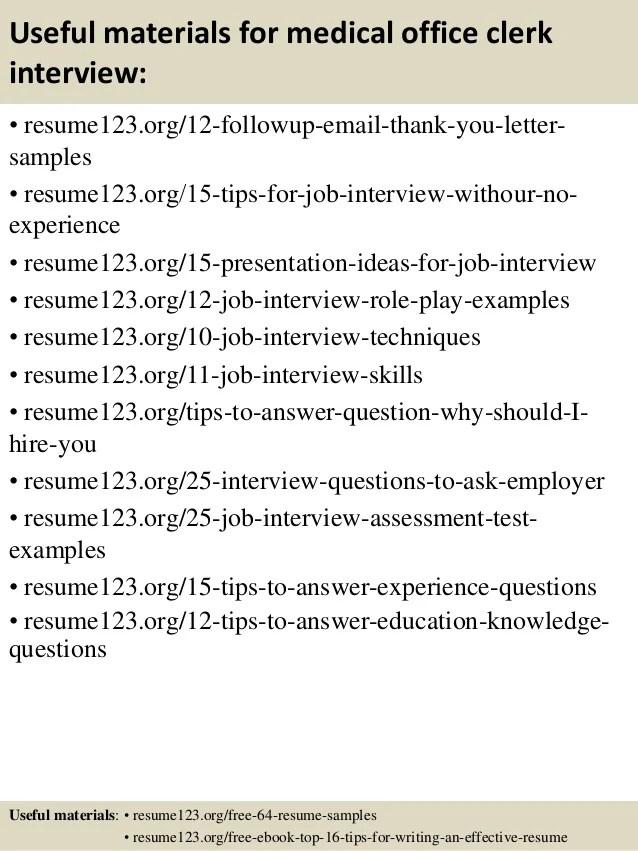 Medical Office Clerk Resume Sample. Administration Cv Template