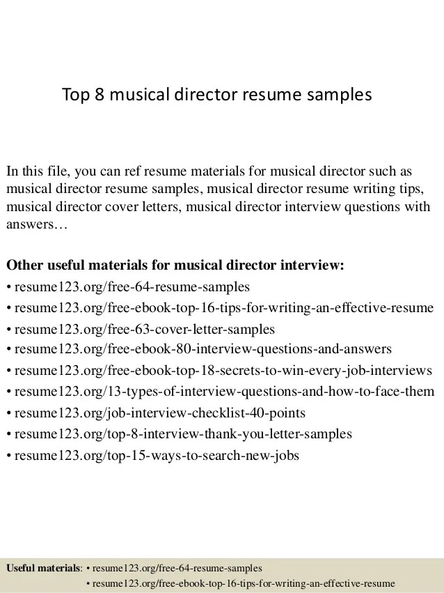 top 8 musical director resume samplesin this file you can ref resume