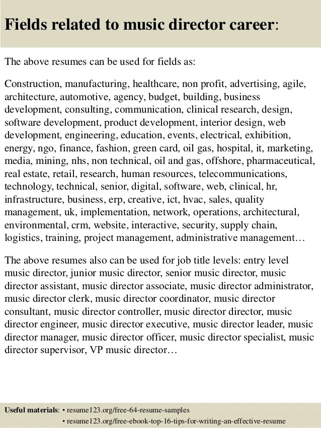 top 8 music director resume samples