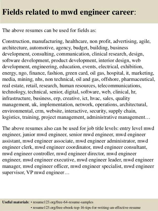 Top 8 Mwd Engineer Resume Samples