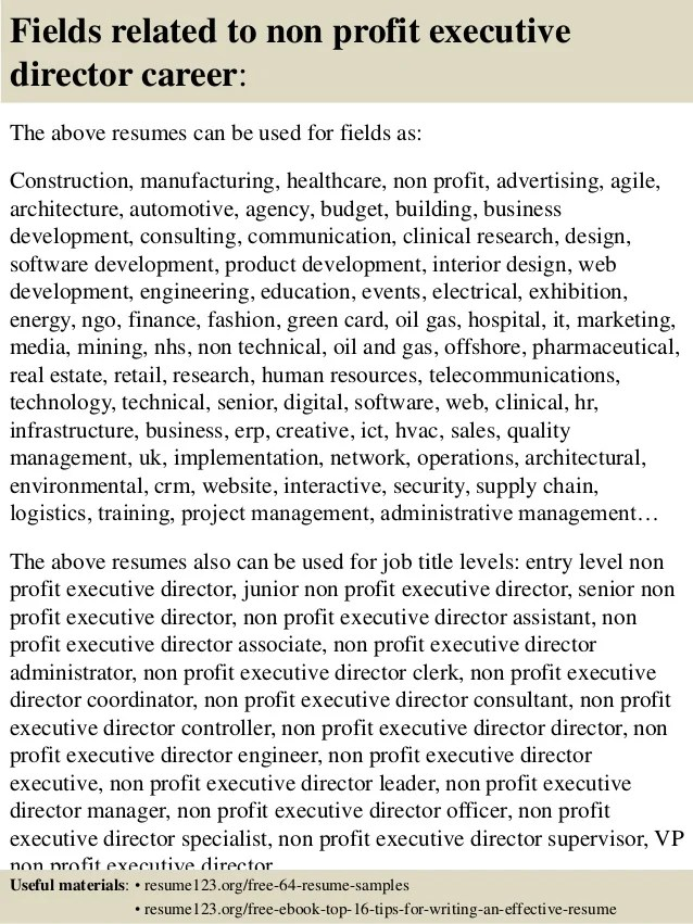 Nonprofit Director Resume Examples. Cover Letter Examples 1 Letter
