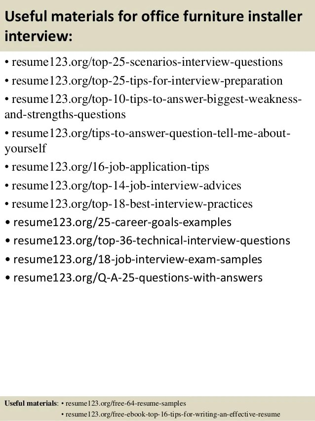 top 8 office furniture installer resume samples