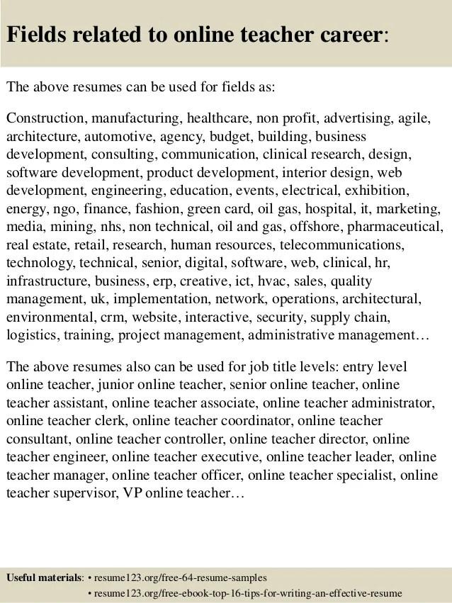 online teacher resumes