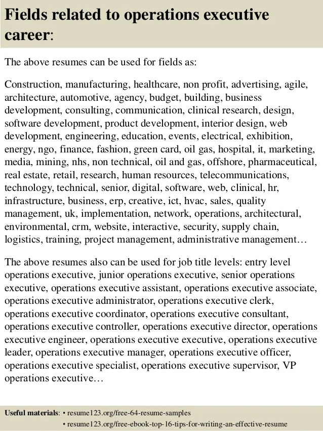 top 8 operations executive resume samples