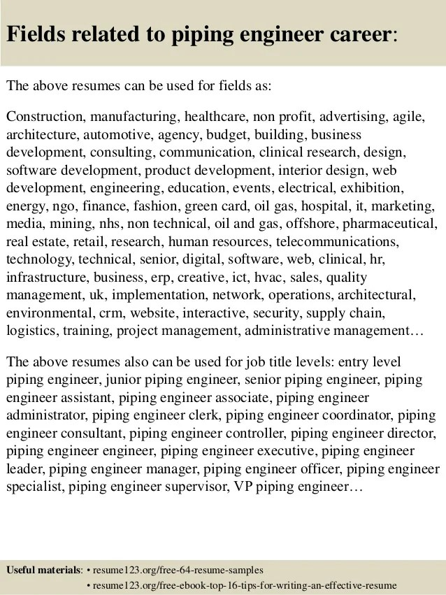Top 8 Piping Engineer Resume Samples