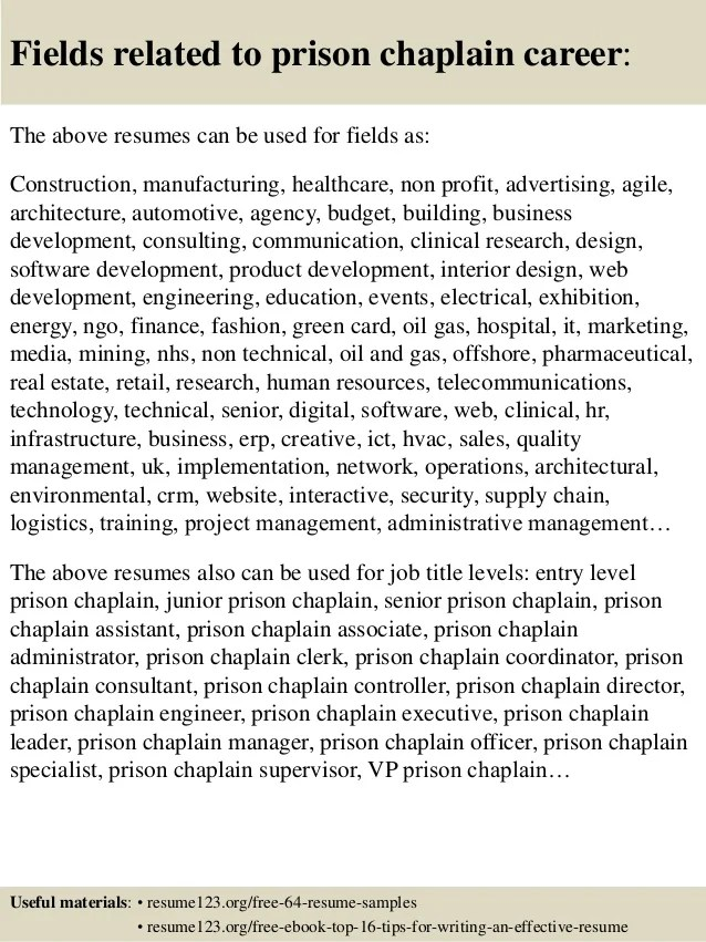 Top 8 Prison Chaplain Resume Samples