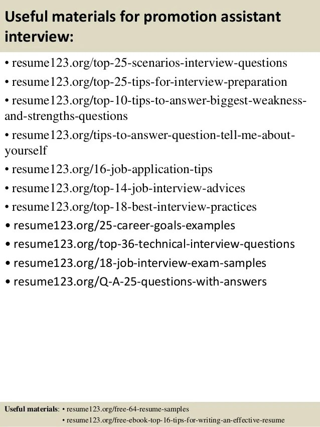 Top 8 Promotion Assistant Resume Samples