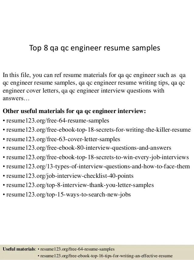 top 8 qa qc engineer resume samples