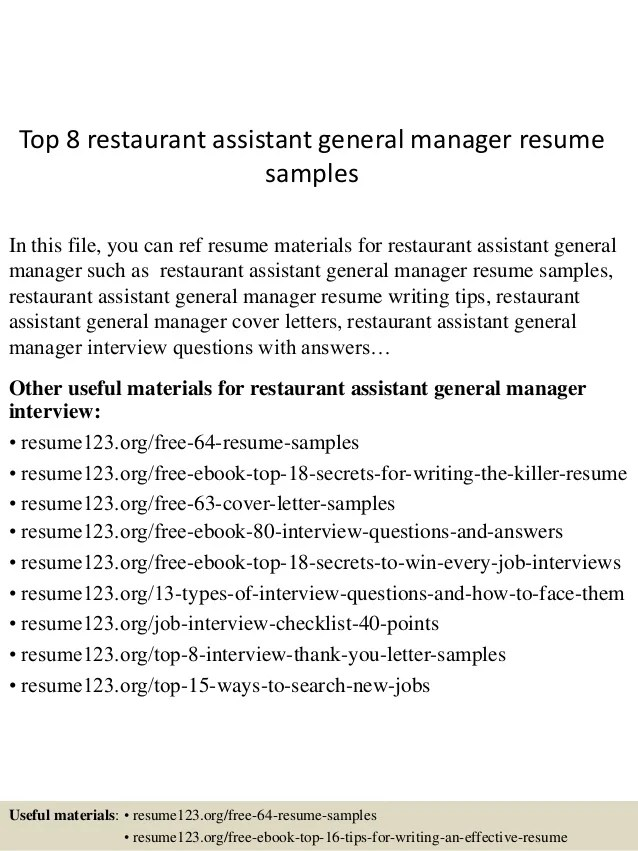 assistant general manager resumes template