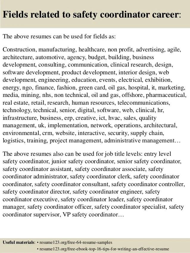 Top 8 Safety Coordinator Resume Samples