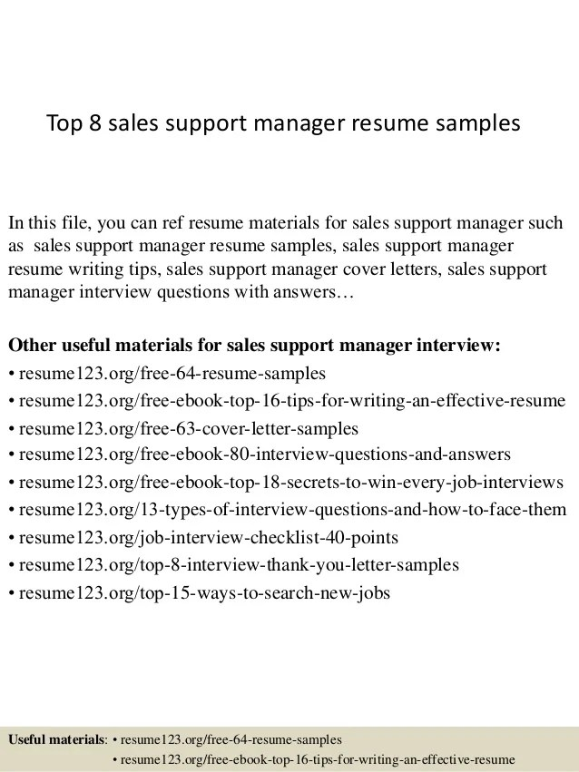top 8 sales support manager resume samples