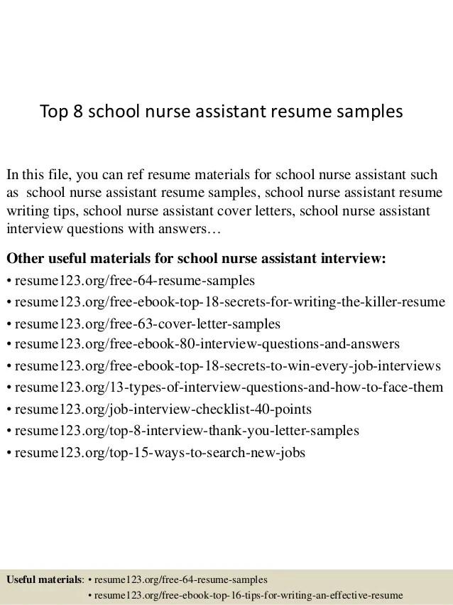 top 8 school nurse assistant resume samples school nurse resume sample