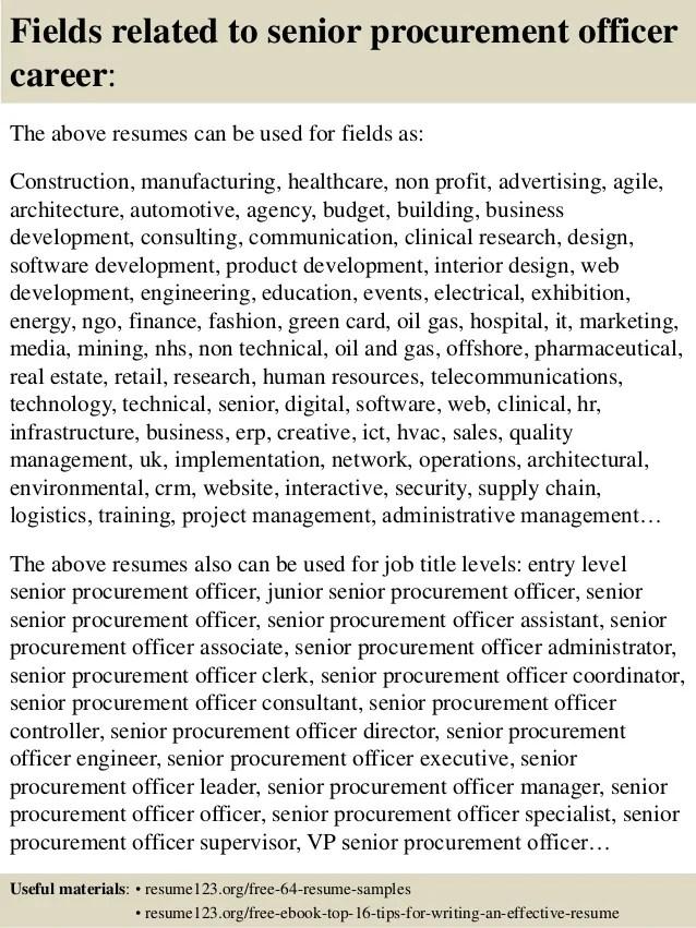 Top 8 Senior Procurement Officer Resume Samples