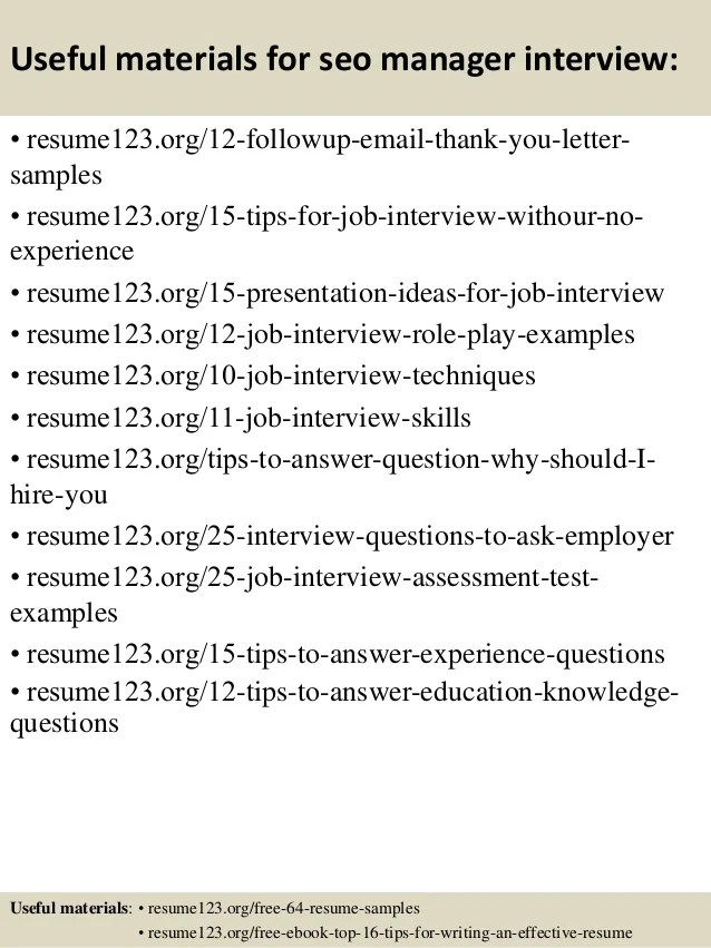top 8 seo manager resume samples