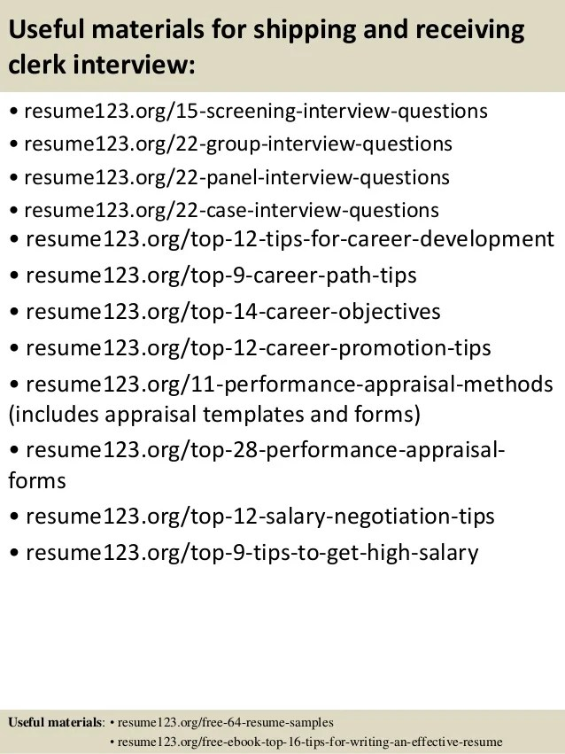 useful materials for shipping and receiving clerk interview resume123