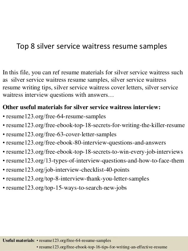 waitress resume responsibilities resume template for restaurant waitress resume example