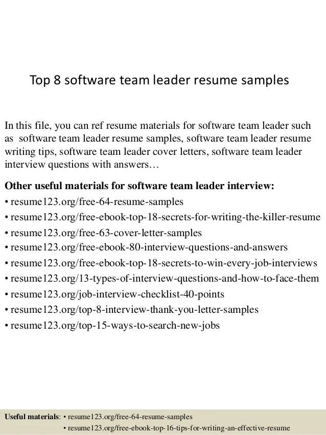 Team Leadership Resume Examples. Top 8 Software Team Leader Resume