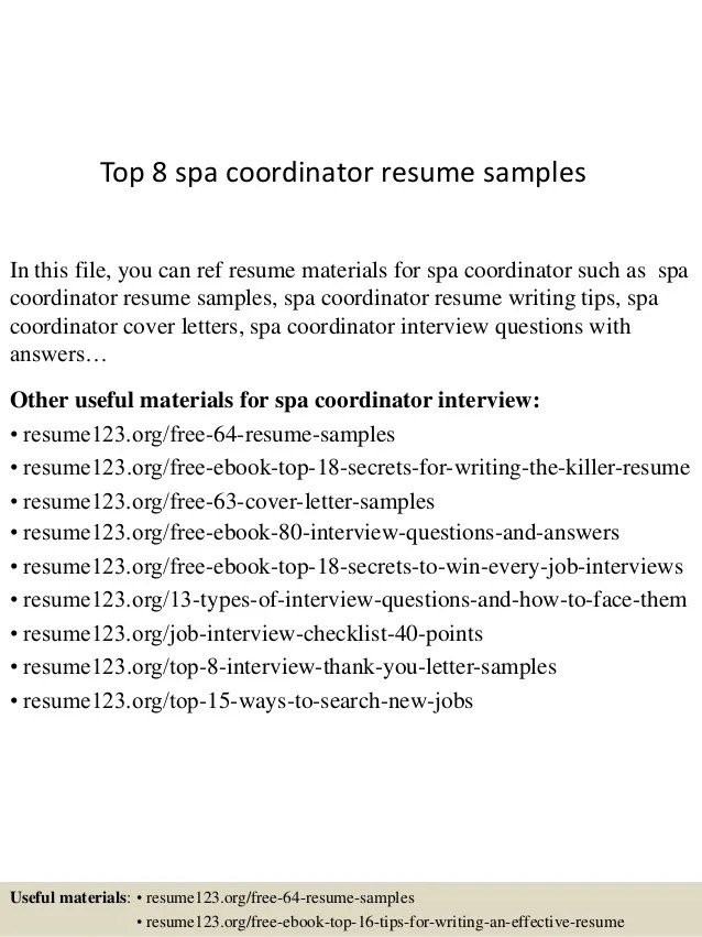 Top 8 Spa Coordinator Resume Samples