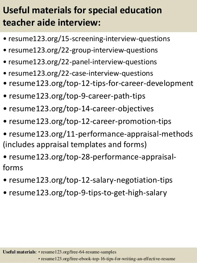 sample resume format of teacher aide resume special education