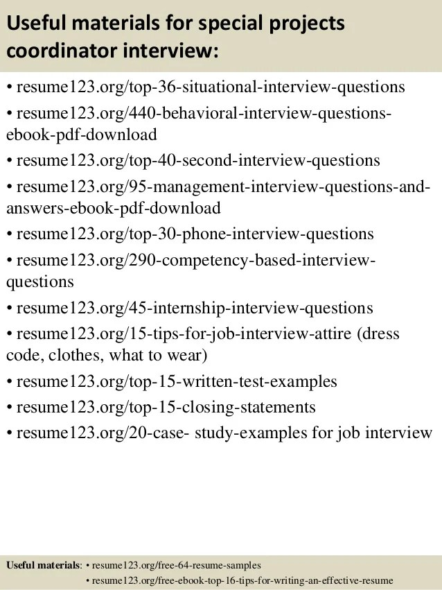 top 8 special projects coordinator resume samples