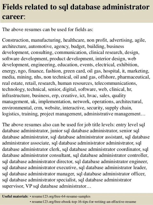 top 8 sql database administrator resume samples