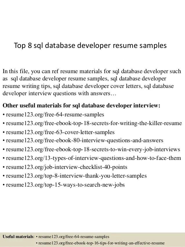 Top 8 Sql Database Developer Resume Samples