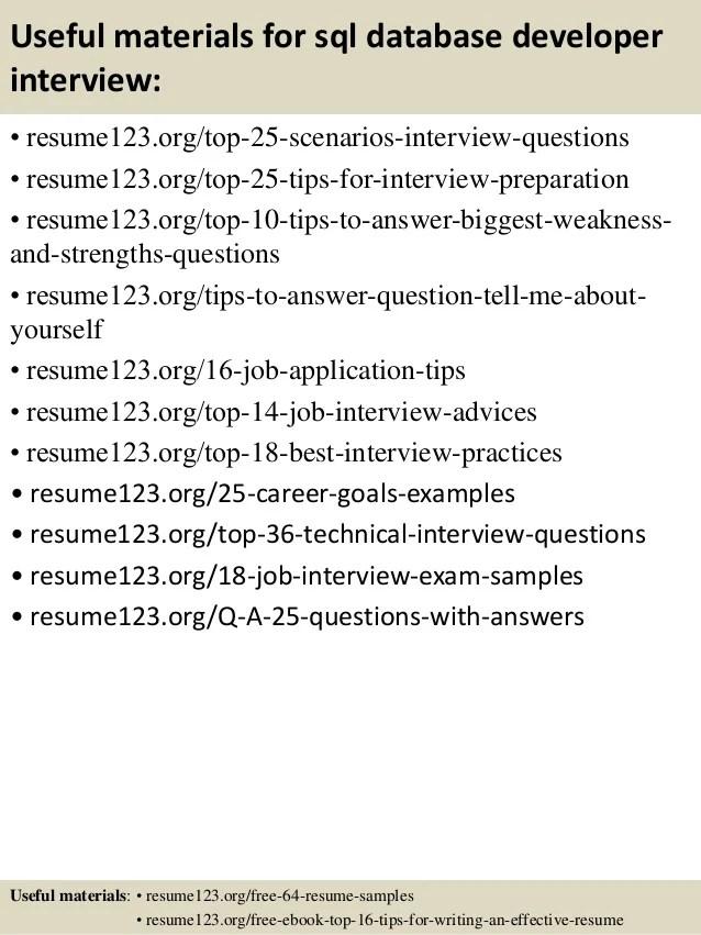 database developer resume template