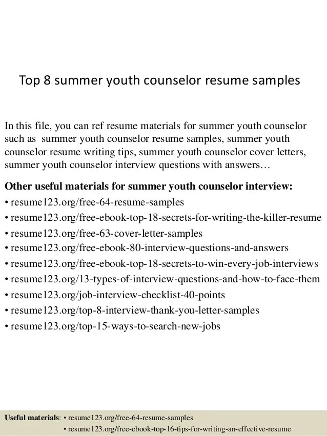 top summer youth counselor resume samplestop summer youth