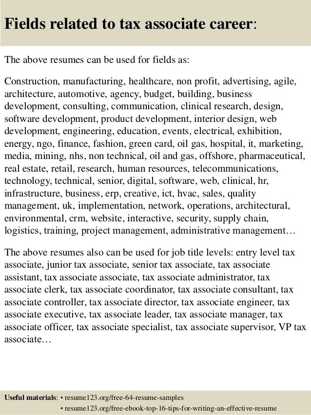 Top 8 Tax Associate Resume Samples