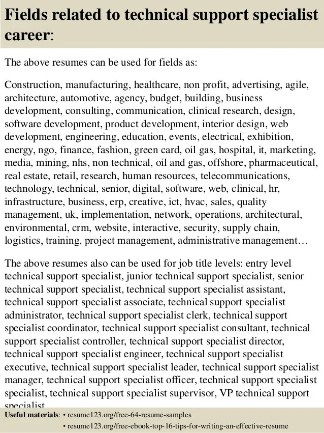 top 8 technical support specialist resume samples